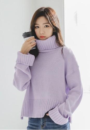高領卷袖針織esprit hk store上衣, 服飾, 毛衣& 針織外套
