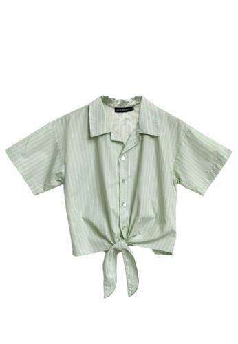 Love Knot green Weylie Button Down Self Tie Top (Green) 4B1F6AAACF195DGS_1