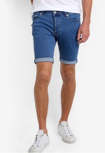 Topman blue Mid Wash Blue Stretch Skinny Denim Shorts TO413AA95GPOMY_1