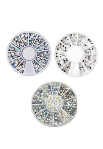Pretty2u multi Nail Accessories Nail Art AB Rainbow Color Rhinestones 3PCS Shape Set 1F58BBE01D677CGS_1