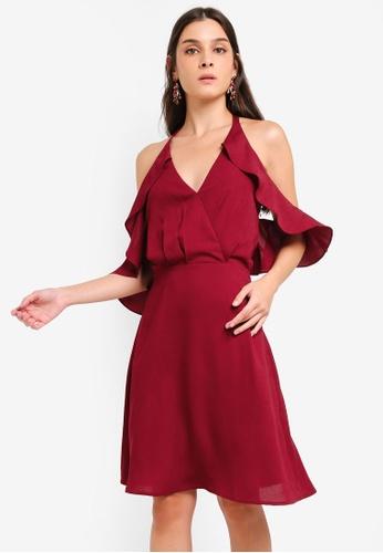 ZALORA red Cold Shoulder Bare Back Fit & Flare Dress D130DAA59152CDGS_1