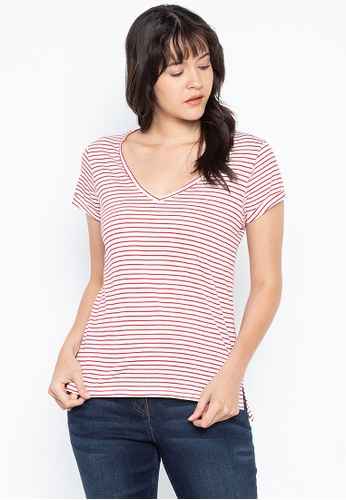 DEBENHAMS red Principles - Pc Ss Stripe V Neck Tee A79D3AA8A15EE7GS_1