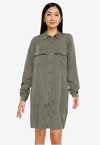 Superdry 綠色 天絲棉 Oversized 襯衫洋裝 - Original & Vintage 55F40AAECD29FBGS_1