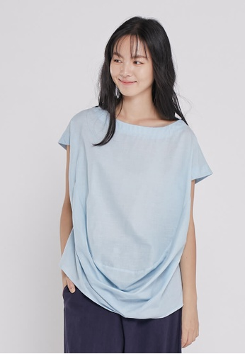 so that's me blue Hayla Puff hem wide-neck top Light blue 4C8F1AA6B0B244GS_1