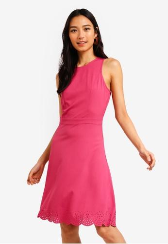 ZALORA 粉紅色 雕紋無袖洋裝 4504CAA9596014GS_1