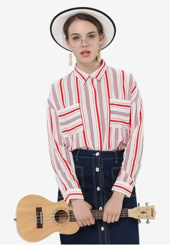 Hopeshow red Long Sleeve Stripe Shirt 35E6AAA84DE2C3GS_1