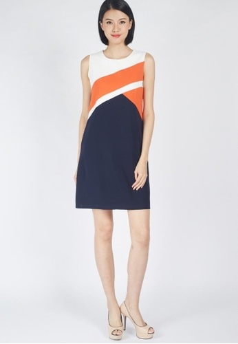 Moss Fashion white and orange and navy Eboni Dress in Navy D66F3AAA2E8AC3GS_1