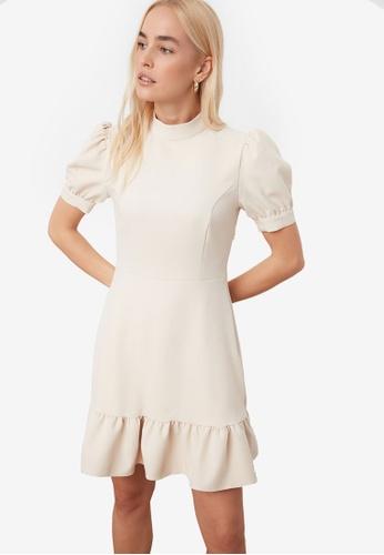Trendyol white High Neck Puff Sleeve Dress F125FAA2B14A55GS_1