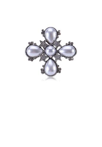 Glamorousky white Fashion Vintage Geometric Star Imitation Pearl Brooch with Cubic Zirconia C4E08AC665A525GS_1