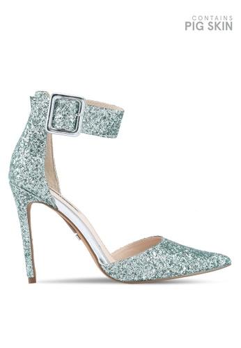 TOPSHOP green Grace Wide Ankle Strap Heels 44915SHC6AF4C5GS_1