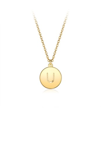 Glamorousky silver Fashion and Simple Plated Gold Letter U Round Pendant with Necklace 27D28ACC54E9D1GS_1