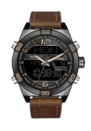 Naviforce brown Naviforce Black and Brown Leather Watch 122EFAC0947B7CGS_1