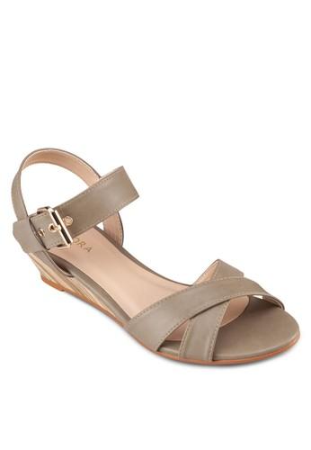 交叉帶楔形涼鞋, 女鞋, 楔形涼zalora 評價鞋