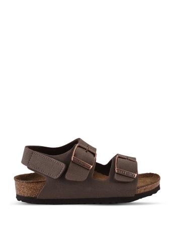 Birkenstock brown Milano Kids Birko-Flor Nubuck Sandals 03B94KS2F48320GS_1