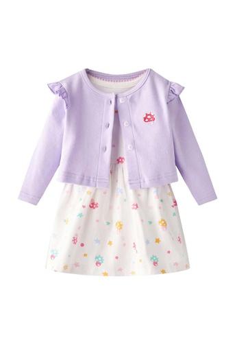 Little Kooma white and pink [ZBG02] Baby Girl White w Unicorn Bodysuit Dress n Pink Ruffled Cardigan 2 Pc Set 796B1KA6C3957EGS_1