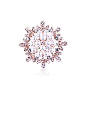 Glamorousky white Fashion and Elegant Plated Gold Snowflake Imitation Pearl Brooch with Cubic Zirconia 49B21AC82117C6GS_1