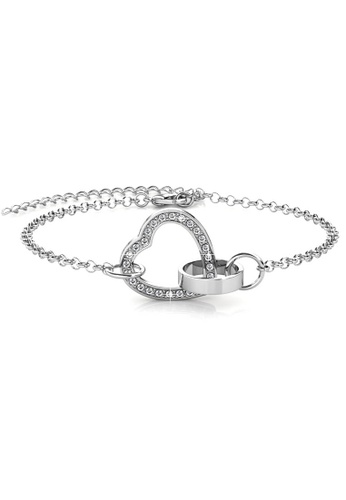 Her Jewellery gold Locked Heart Bracelet (White Gold) - Made with premium grade crystals from Austria 11764AC07EC5EAGS_1