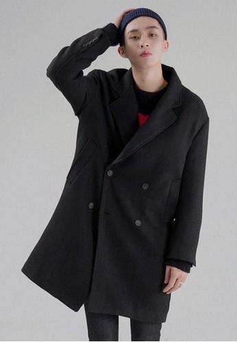 微大碼雙esprit專櫃排釦長款大衣, 服飾, 外套