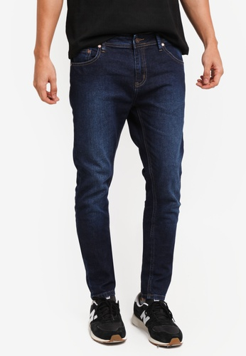 Penshoppe navy Distressed Mid Rise Skinny Fit Jeans 1DDF9AAE5A2F87GS_1