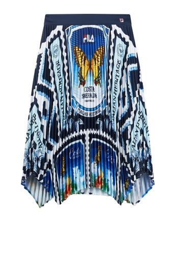 FILA blue FILA Logo All Over Theme Printed Asymmetry Hem Pleated Skirt 49BF7AAA7FAB38GS_1