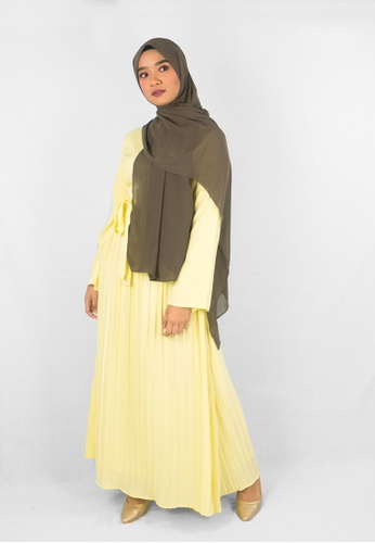 Zaryluq yellow Maxi Dress with Pleats in Corn Silk D4ACCAA4B55A55GS_1