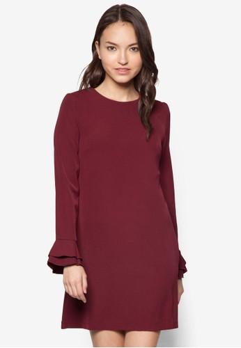 Candice 層zalora時尚購物網評價疊喇叭袖連身裙, 服飾, 服飾