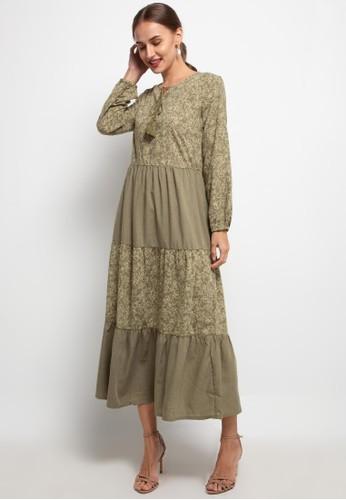 SIMPLICITY green Floral Tassel Maxi Dress FFE3DAAAC62824GS_1
