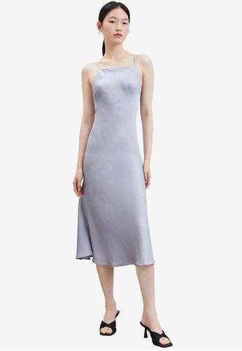 URBAN REVIVO grey Textured Strap Dress 53657AA762D58BGS_1