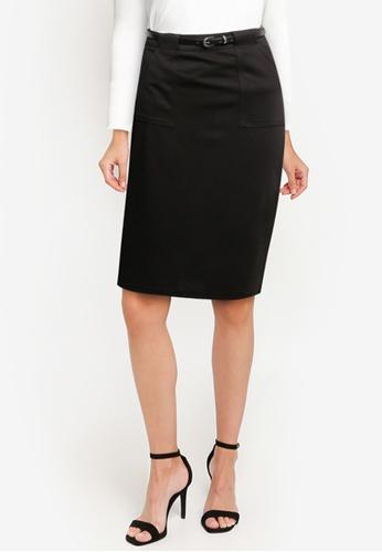 ZALORA WORK black Belted Pencil Skirt BFACEAA5F6291CGS_1