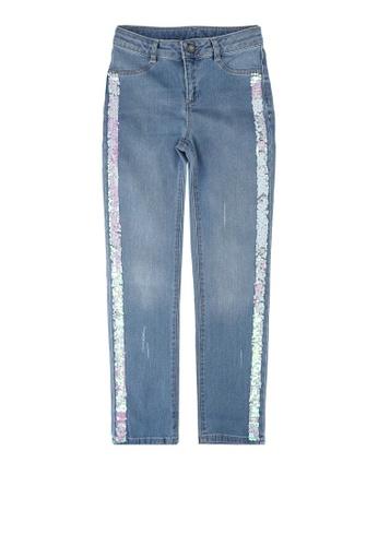 LC Waikiki blue Girl?s Spangled Slim Jeans 6512DKA9EE6F5CGS_1