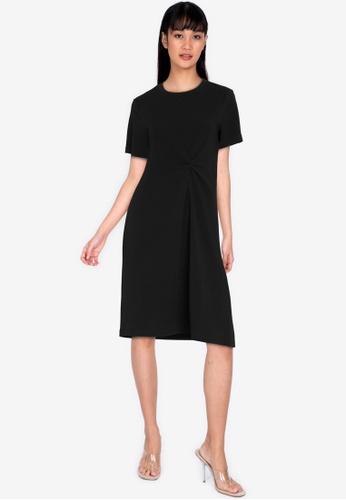 ZALORA BASICS black Knot Detail Tee Dress BE180AA11F446BGS_1