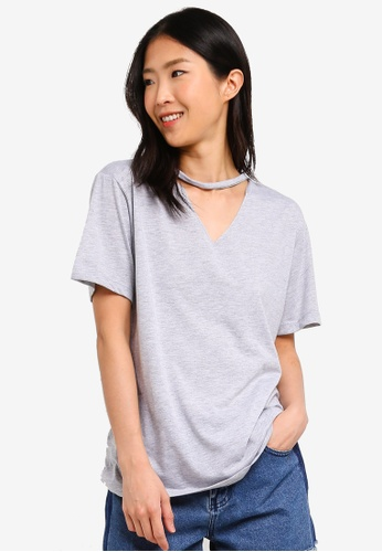 ZALORA BASICS grey Basic V-Neck Cut Out T-Shirt 98BEEAA6E7075FGS_1