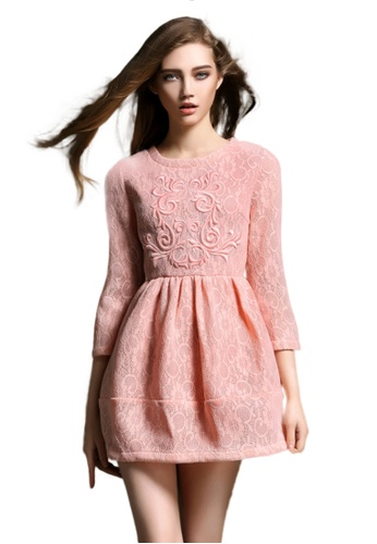 Sunnydaysweety pink Pink 3/4 Sleeves A-Line One Piece Dress K200416016 1C3B8AAA8D7846GS_1