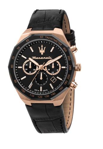 Maserati black Maserati Stile Black Leather Strap Chronograph Watches R8871642001 E7F4EAC324EF81GS_1