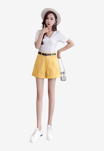 Lara yellow Women's Solid Tone High Waist Shorts 453B1AABA7178BGS_1