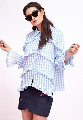 格紋造型罩衫京站 esprit, 服飾, 上衣