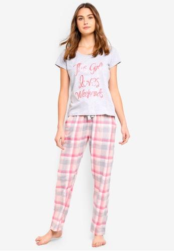 Dorothy Perkins pink Pink Girl Loves Weekend Pyjama Set D22A6AA7B113D1GS_1