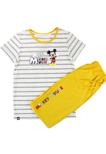 Disney multi Ladies' Mickey Mouse Striped Pyjama T-shirt & Capri Pyjama Tokong Set DDDBAAA10BD963GS_1