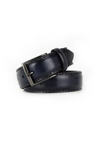 Barnns navy Barnns Rustic Hand Stitched Calf Leather Belt in Navy A3DE6AC72FFF9DGS_1