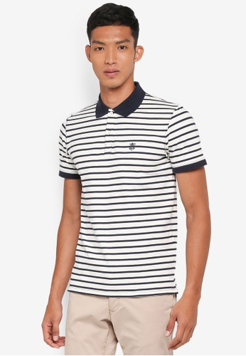 Selected Homme white Haro Stripe Polo Shirt 360B7AA3FDDC8DGS_1