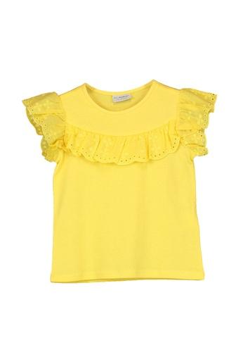 LC Waikiki yellow Scalloped Lace Cotton T-Shirt E43C7KA9EC1454GS_1