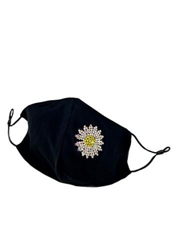 La Floret black 1 pc Masker Kain Handmade Crystal Flower 2 layer Silky Cotton mask adjustable Earloop 89D37ES3D41813GS_1