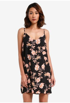 細肩帶花卉短洋裝
