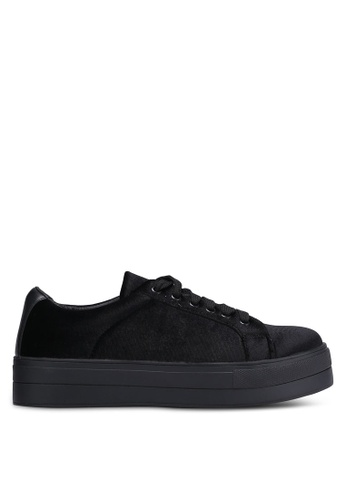 Something Borrowed black Velvet Lace Up Sneakers A1AA6SH10BF2E2GS_1