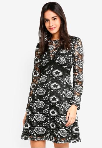 Long Sleeve Heavy Lace Skater Dress