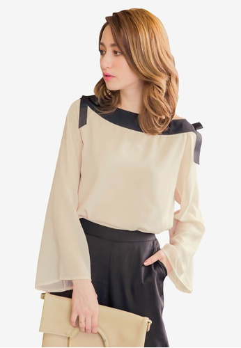 YOCO beige Contrast Tie Detail Blouse 63399AA5746CD2GS_1