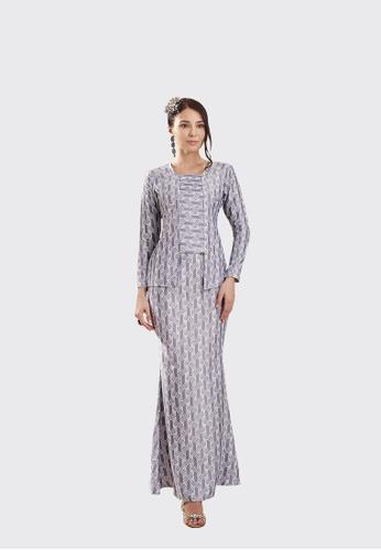 Cik Mek Kebaya from Nadjwazo by LadyQomash in White and Blue and Silver