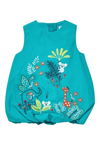 Du Pareil Au Même (DPAM) green Embroidery Dress 27B5FKA867C2BFGS_1
