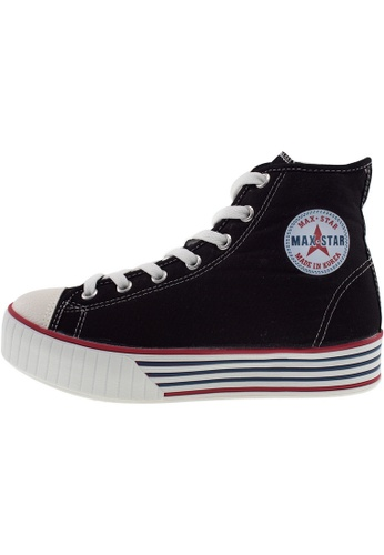 Maxstar 黑色 新款韩国鞋C30-7H時尚帆布布混合女黑色 US Women Size MA345SH10GWRTW_1