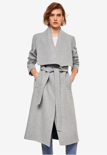 Mango grey Belted Wool Coat D2D3EAA896DC6BGS_1